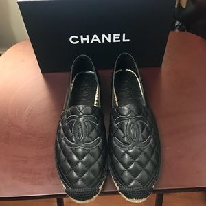 Chanel black CC quilted Espadrilles Mules flats